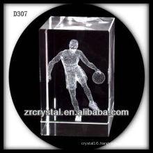 K9 3D Laser Playing Basketball Inside Crystal Rectangle