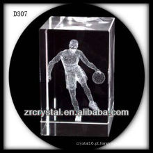 K9 3d laser jogando basquete dentro de cristal retângulo