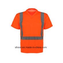 Safety Reflective Short Sleeve Polo Shirt with V Neck
