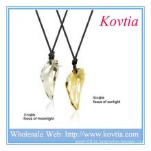 Unique design couro corda colar de pingente de cristal colar