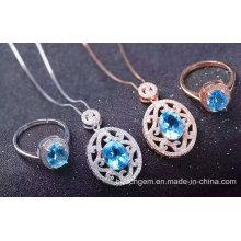 Fashion Blue Topaz Jewellery Set (S2649)