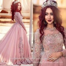 Vestido De Noiva Appliques Beading Ball Gown Elegant Lace Long Sleeve New Arrival Pink Muslim Wedding Dress WW1413