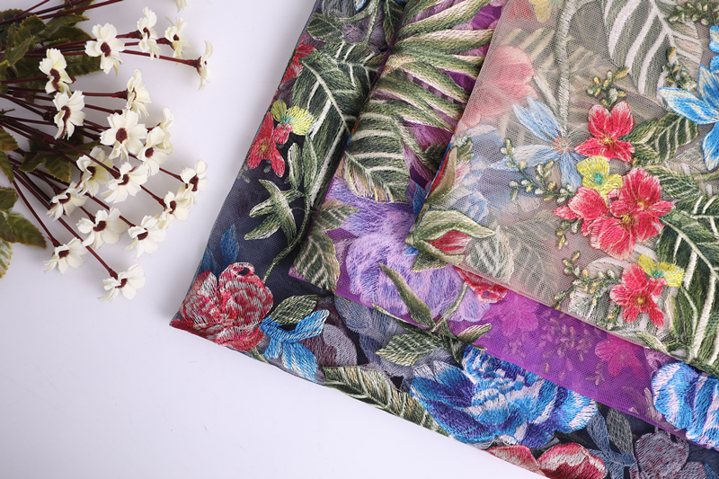 Multicolor Print Embroidery Fabric