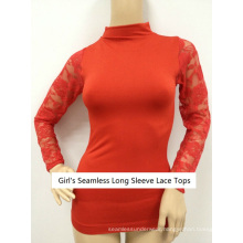 Seamless Sexy Long Sleeve Sheer Floral Lace Tops
