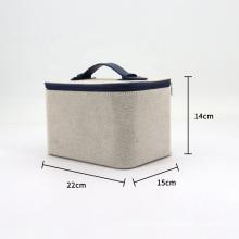 Unisex Professional Hemp Beauty Makeup Bag Travel Cosmetic Case With Handle Organizer Artist Travel Kit Bag