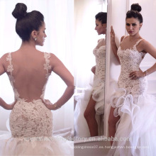El cordón ata con correa el vestido nupcial MW2551 del vestido de boda del cordón del alto de la sirena del tamaño de encargo del vestido