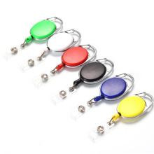 DIY Oval Plastic ABS ID Name Nurse Badge Reel Retractable Card Holders Carabiner Keychains