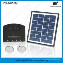 Système solaire léger de maison de panneau solaire de 4W 11V avec la fonction de chargeur de téléphone de 2 lumières