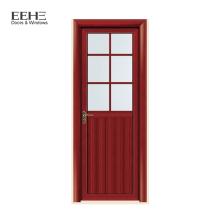 Wood grain aluminum swing door half glass door for kitchen