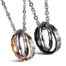 or 18 carats plaqué cristal Collier pendentif pour pendentifs de femmes amis inox rond