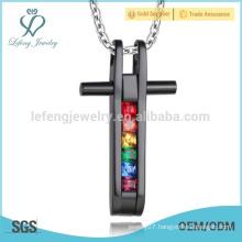 Free sample gay pride pendant,square cross pendant,crystal pendant design