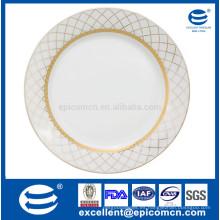 Platos de cena de porcelana super blanco y platos vajilla de oro placa redonda de 27 cm