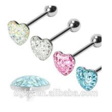 """Gem Paved corazón barbell epoxy 14G 5/8 """"anillo de acero de la joyería piercing anillo"""