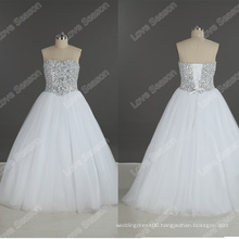 LS0185 Heavy beaded hand embroidery orders high quality simple wedding gown crystal beads wedding dresses loose crystal beads