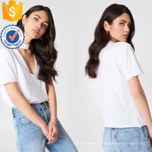 Белый хлопок V-образным вырезом с коротким рукавом летний Топ Производство Оптовая продажа женской одежды (TA0079T)