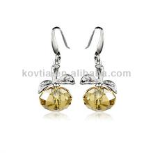 2014 nouveau produit forme de pomme boucles d'oreilles en cristal transparent jaune