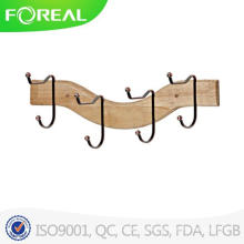 Wooden 4 Hooks Towel Clothes Hanging Wall Mounted Clasp