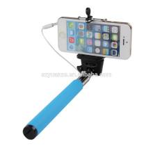 Wired Palo Selfie Stick Handheld Monopod Built-in Shutter Pau De Self Stick avec support de téléphone cellulaire pour Apple iPhone Samsung Android