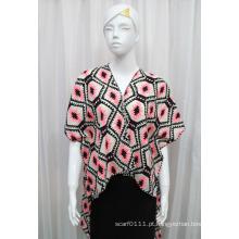 Senhora moda impressa de malha de poliéster de seda t-shirt (yky2225)