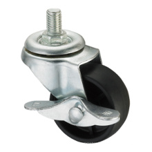Série de roulettes légère - 3 po Tige filetée avec frein latéral - PP noir