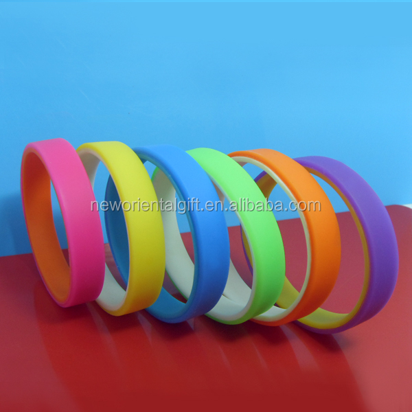 Double Silicone Wristbands/two layers bracelets/two sides bangles