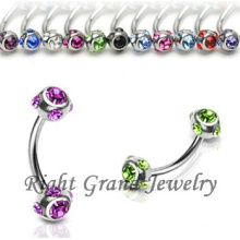 316L Surgical Steel Multi-Crystal Eyebrow Rings