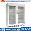double glass door supermarket refrigerator display cooler