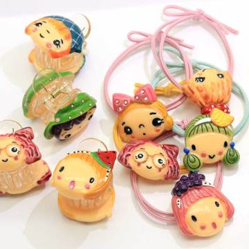 Wholesale Resin Cartoon Baby Girl Head Ponytail Holders Elastic Hair Tie Rope Rings Pigtail Holders Elastic Rubber Band Ring