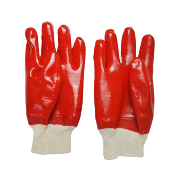 Red Single Dipped.Smooth finish PVC .Knit Wrist.