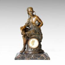 Clock Statue Worker Bell Bronze Sculpture Tpc-030