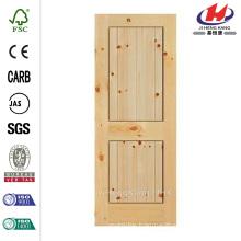 36 in. x 84 in. Knotty Pine Veneer 2 Panel Plank Solid Wood Interior Barn Door Slab