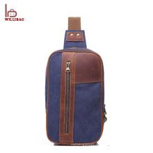 Fashion Leisure Shoulder bag Canvas Leather Chest bag for men
