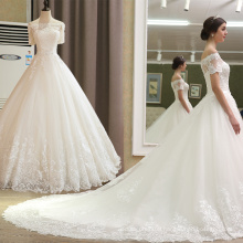 SL-5T Alibaba Wedding Dress Short Sleeve Lace Beading Belt Wedding Gown Bridal China 2017