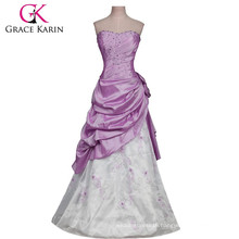 Grace Karin Long Strapless Purple and White Burgundy Quinceanera Dresses Cheap CL2519