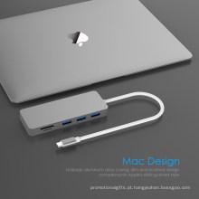 5 em 1 USB Hub Type C para leitor de cartão SD / TF