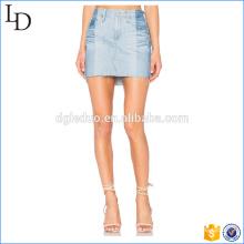 Dos tonos transpirable lavado falda corta diseñador mujeres lápiz falda de mezclilla