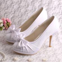 Platform White Lace Bridal Shoes Bowtie