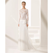 Sexy Long Sleeve Sheer Lace Top Tulle Skirt Bridal Dress Wedding Gown