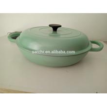 Shallow round enamel cast Iron cooking pot