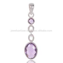 Stylish Jewelry Natural Amethyst Cut Gemstone Handmade 925 Silver Pendant