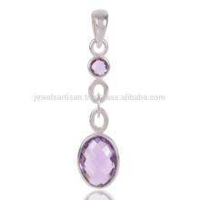 Jóias elegantes Natural Amethyst Cut Gemstone Handmade 925 Pendant