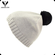 Acrylic Knitted Top Ball Rabbit Fur Hat