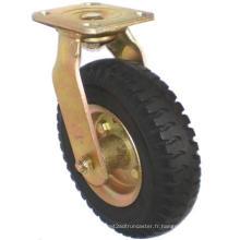 Roulette à caoutchouc pneumatique pivotant robuste (noir)
