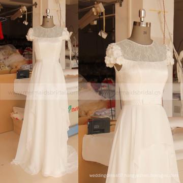 Cap Sleeve Neck Chiffon Handmade Flowers Cheap Bohemian Wedding Dress