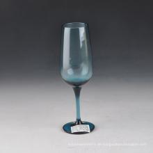 Mundgeblasenes einfarbiges blaues Champagner-Glas