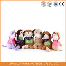 Yk EN71 valentine day plush floppy toy pug dog