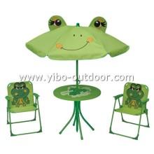 Sistema plegable de mesa y silla de los cabritos con paraguas