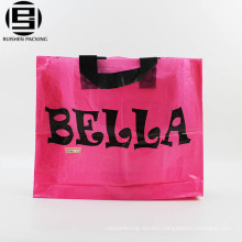 Purple promotional HDPE design plastic bag with plastic loops