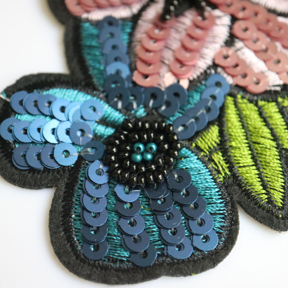 Sequins Sew On Floral Patches