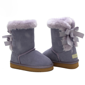 Girl Winter Suede Leather Purple Boots Toddler